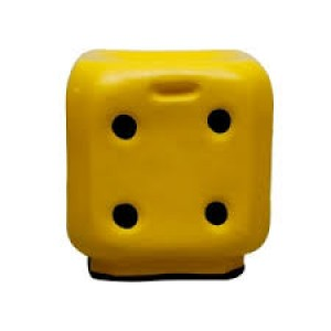 ONLINE FIBRE DICE STOOL IN YELLOW COLOUR